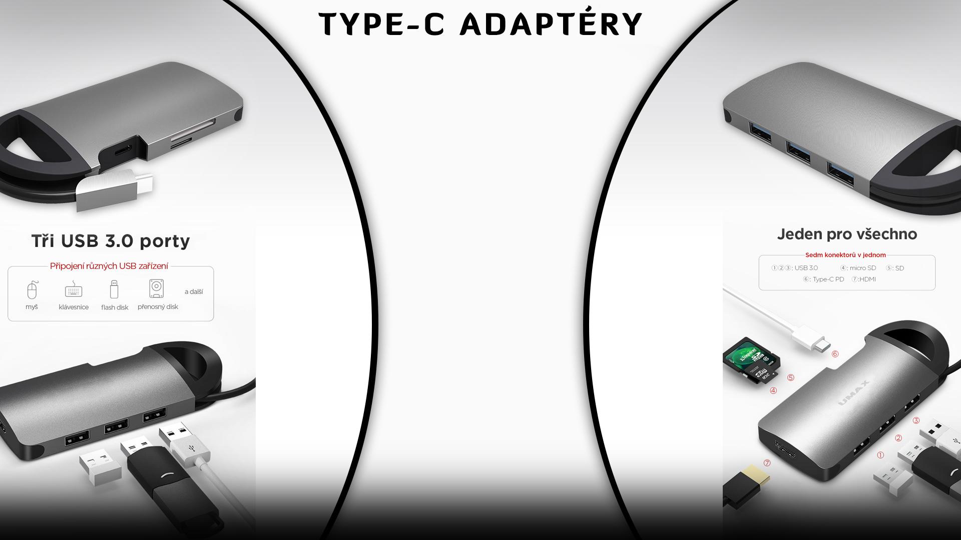 umax usb type c adaptéry